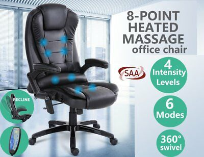8 Point Massage Executive Office Computer Chair Heated Recliner PU Leather AU