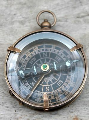 Antique Vintage Brass Flat Compass London Dollond Maritime Collectible Compass