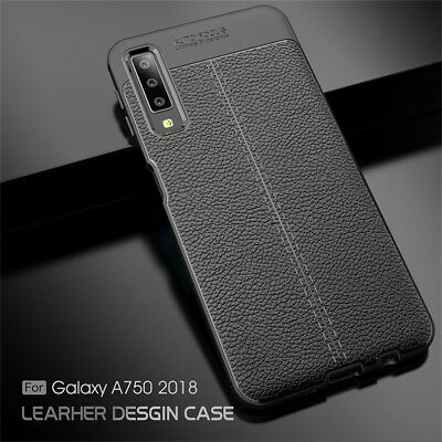 For Samsung Galaxy A9 A8 A7 2018 Ultra-Thin Rubber TPU Leather Back Case Cover
