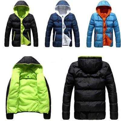 Men Winter Warm Duck Down Jacket Ski Cycling Snow Thick Hooded Puffer Coat Parka
