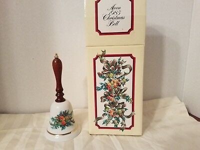 AVON 1985 CHRISTMAS BELL  Wood Handle Gold Accent Trim Marked & Dated  euc