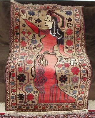 Fine Afghanistan Unique Handmade Knotted Persian Beautiful Picture Rug Kuchi Art