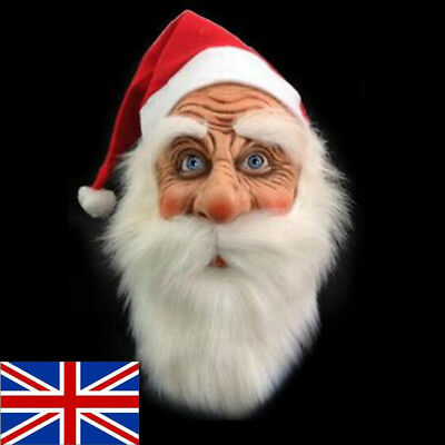 Santa Father Christmas Full Face Latex Mask with Beard and Hat Costume Party UK