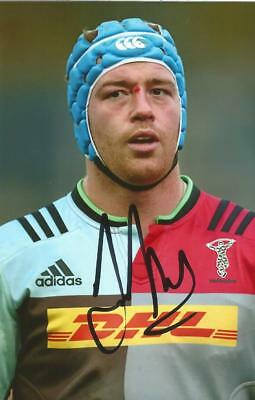 HARLEQUINS RUGBY UNION: JOE GRAY SIGNED 6x4 ACTION PHOTO+COA
