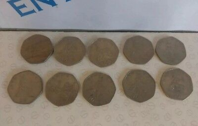 Bulk Job Lot 10 x Old Large Style Britannia 50p Fifty Pence Coins Mixed Years