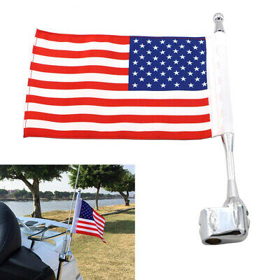 American US Flag Pole Rear Side Antenna Mount for Honda Goldwing GL1800 01-11 #K