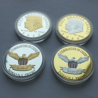 2Pc Keep America Great Challenge Coin - Donald Trump 2020 Gold & Silver Plated