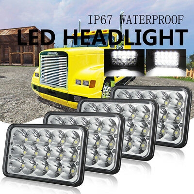 "4PCS 4""x6"" 45W LED Sealed Beam Headlights fit for Kenworth T600 T800 T400 Truck"