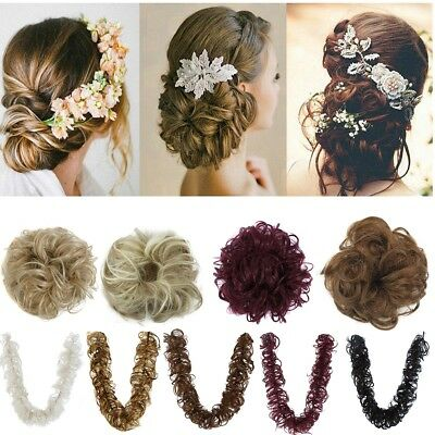 Thick Hair Extensions Scrunchie Wrap Messy Bun Updo Curly Ponytail Chignon Long