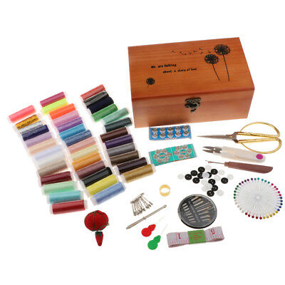 Portable Wooden Sewing Kit Case Organiser Box Set Home Travel Accessories