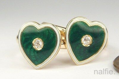 PAIR of ANTIQUE ENGLISH 18K GOLD GREEN ENAMEL DIAMOND HEART RINGS c1900