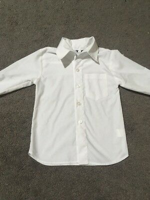 Baby Boys Formal White Long Sleeve Button Up Shirt Size 1 EUC