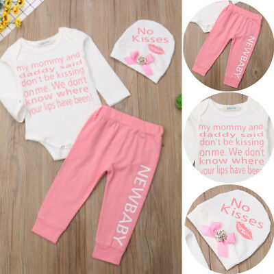 3Pcs Toddler Newborn Baby Cute Girls Romper Tops Pink Pants Hat Outfits Clothes