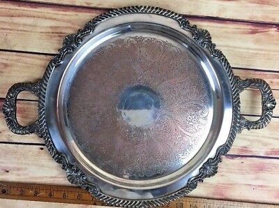 Antique Silver On Copper Serving Tray-Etched Crown S Shield-Victorian Style JF01