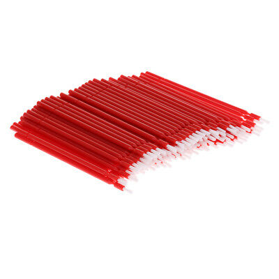 100x Dental Disposable Plastic Micro Tooth Applicator Brush, Flexible Red