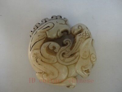 Collected Ancient China Old Jade Carving Auspicious Dragon Beast Pendant Amulet