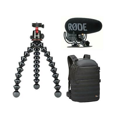Joby GorillaPod 5K Kit Black With Rode On-Camera Mic /Lowepro ProTactic Backpack