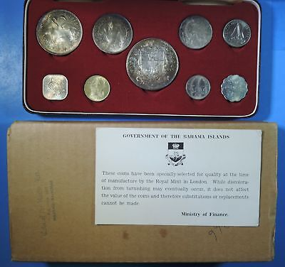 1966 Bahamas Islands 9 Coin Mint Set w/ Silver & OGP Original Packaging Toned