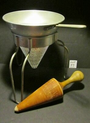 Old Wear Ever No.8 Strainer-Collander With Stand & Wood Pointed Pestle - V/g Con