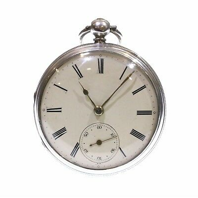 1869 Antique Open Face Pocket Watch Silver Fusee Lever