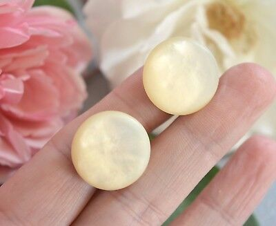 Antique / Vintage large mother of pearl button earrings