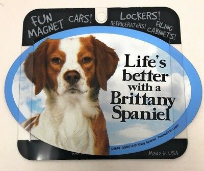 LIFE'S BETTER WITH A BRITTANY SPANIEL MAGNET Dog, Cars, Trucks. Lockers