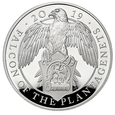 1 Oz Silver Proof Queens Beasts Falcon of the Plantagenets 2 £ UK 2019 silber