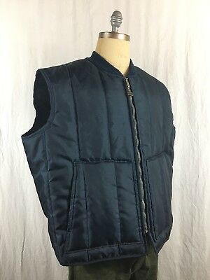 Vintage Walls Blizzard Pruf Vest Men's 3XL Navy Blue Insulated Made In USA