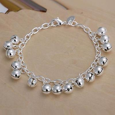 New Women Fashion Jewelry 925 Sterling Silver Plated Beads Chain Bangle Bracelet