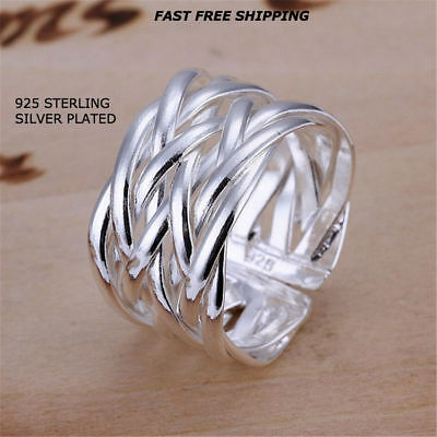 New Women Fashion Jewelry 925 Sterling Silver Plated Open Ring Thumb Finger