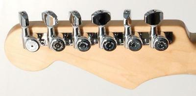 CHROME NEW Hipshot Grip-Lock Non-Staggered LOCKING TUNERS 6 In Line D08