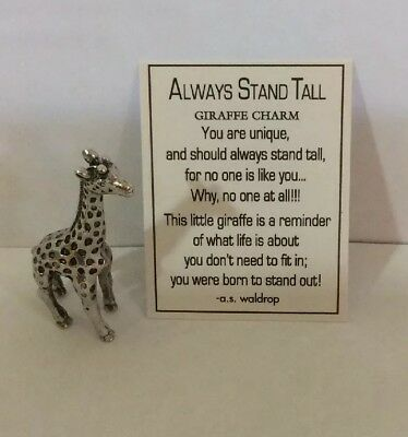 (2) Mini Always Stand Tall Giraffe Charm Pocket Token Coin with Verse