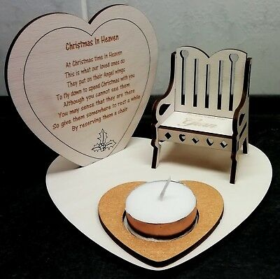 Christmas In Heaven Memorial Plaque With Candle Holder and Personalised  Chair