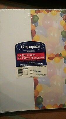 NEW GEOGRAPHICS BALLOONS Party DESIGN 50 NOTE CARDS With ENVELOES FOR PRINTERS