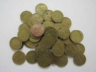 Lot of 50 Old France 1963 10 Centimes Coins - Circulated