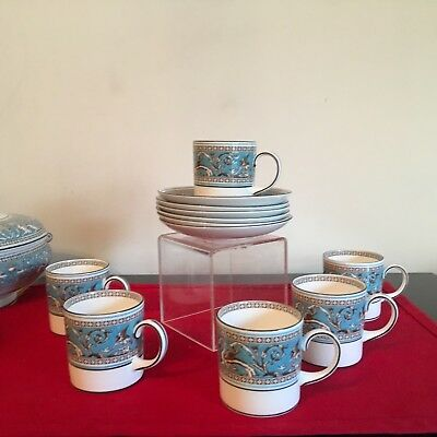 WEDGWOOD TURQUOISE FLORENTINE -  large COFFEE CUPS & SAUCERS 4 available  superb
