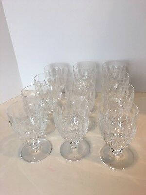 Set of 12 Waterford Crystal COLLEEN Short Stem Wine Glasses Water Goblets