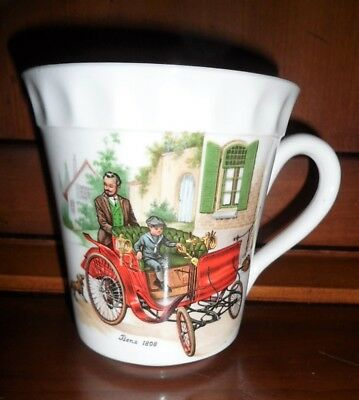 Vintage Crown Staffordshire Coffee Cup 1898 Benz Auto Car Gold Trim Collectible