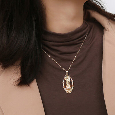 Vintage Oval Shaped Virgin Mary Madonna Pendant Choker Necklace Women Jewelry S