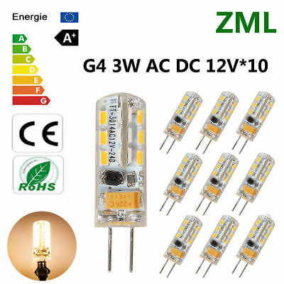 10X G4 3W 12V led Bulbs halogen desk lamp Capsule light Warm White SMD Dimmable