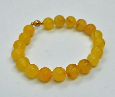9.25gr Natural Baltic Bracelet Amber Egg Yolk Graduated Natural Genuine Stone