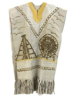 Mexican Leather Poncho Western Chamois Unisex  - Azteca