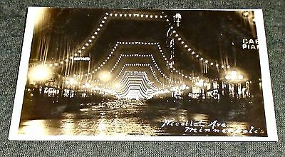 RPPC - Nillolet Avenue at Night, Minneapolis  Minnesota Vintage Postcard