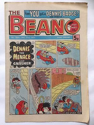 DC Thompson THE BEANO Comic. Issue 1850 December 31st 1977 **Free UK Postage**
