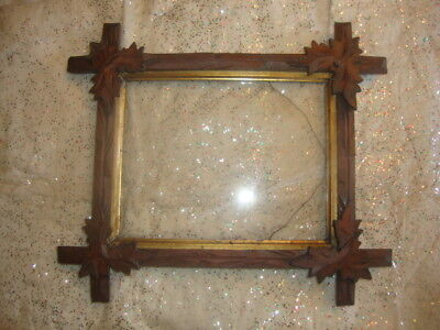 Antique Tramp Art Picture Frame Cigar Box Folk c 1880s Vintage Victorian Cuckoo