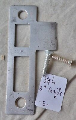 "Mortise Bolt Lock latch strike plate steel 3 1/4"" long ANTIQUE (per each"
