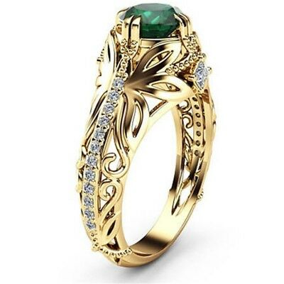 Exquisite 14k Gold Emerald Diamond Ring Anniversary Gemstone Rings Size 6 - 10