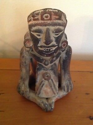 "Wonderful Old Vintage Mexican Mayan Aztec Folk Art Clay Figure 4 1/2"" Tall"