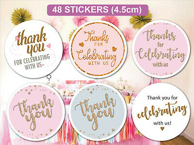 48 Personalised Wedding Birthday Celebration Stickers Labels Thank you Bag Seals