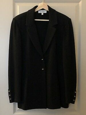ST JOHN BASICS BY MARIE GRAY Santana Black Blazer Suit Jacket Knit Size 14